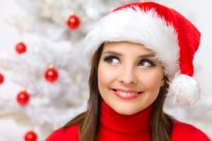 santa hat woman